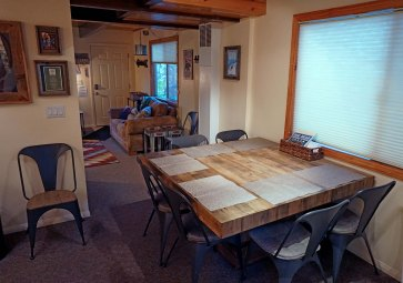 Modern rustic dining table with seating for 6-8